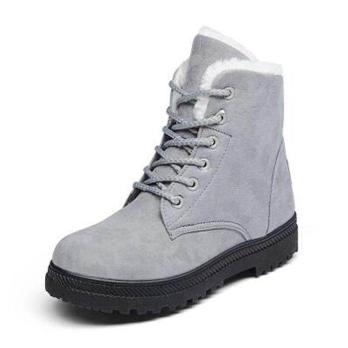 Bottine Femme hiver Classique peluche boots BXX-XZ003Gris-43