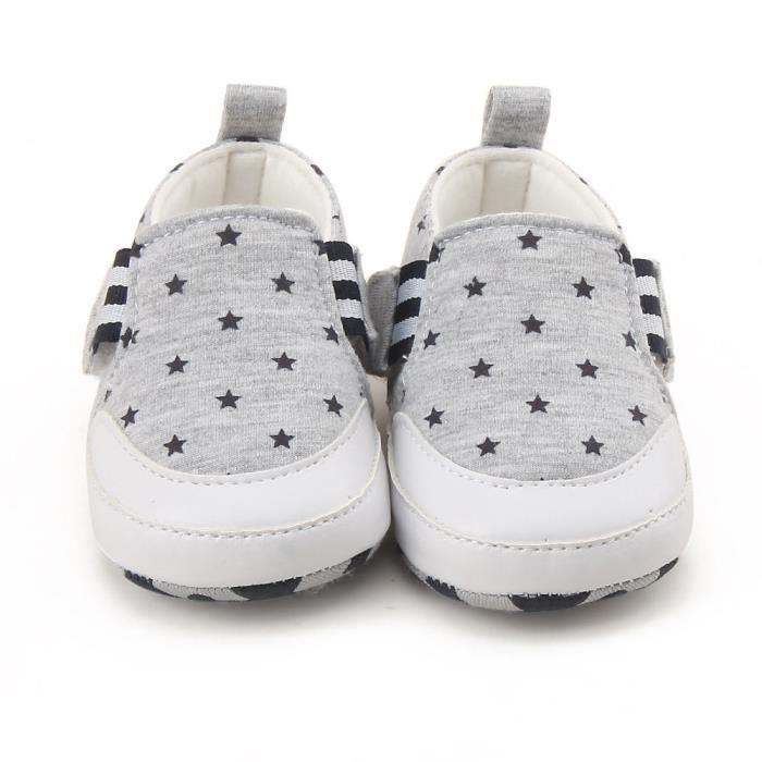 BOTTE Nouveau-né Infantile Bébé Fille Garçon Imprimer Crib Chaussures Semelle Souple Anti-slip Sneakers Chaussures@GrisHM