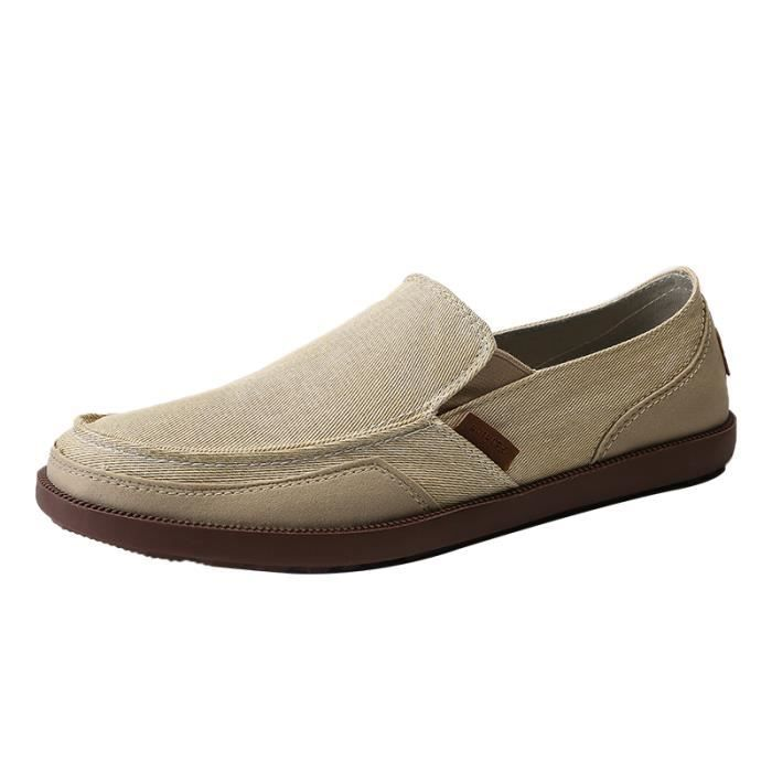 73311ca005d Slippers Chaussures Homme Mocassins Toile Gris Beige Beige - Achat ...