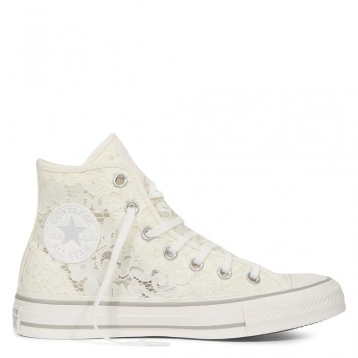 8282534a97527 BASKET - converse chuck taylor all star flower lace Blanc Blanc ...