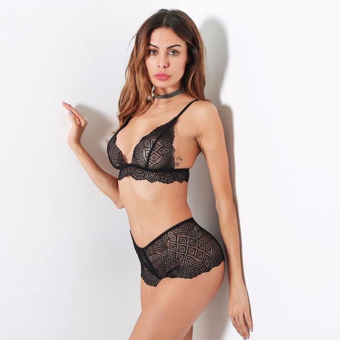 7511a78d619e7 Femmes Lingerie Corset Dentelle Push Up Top Bra + Pantalon Sous ...