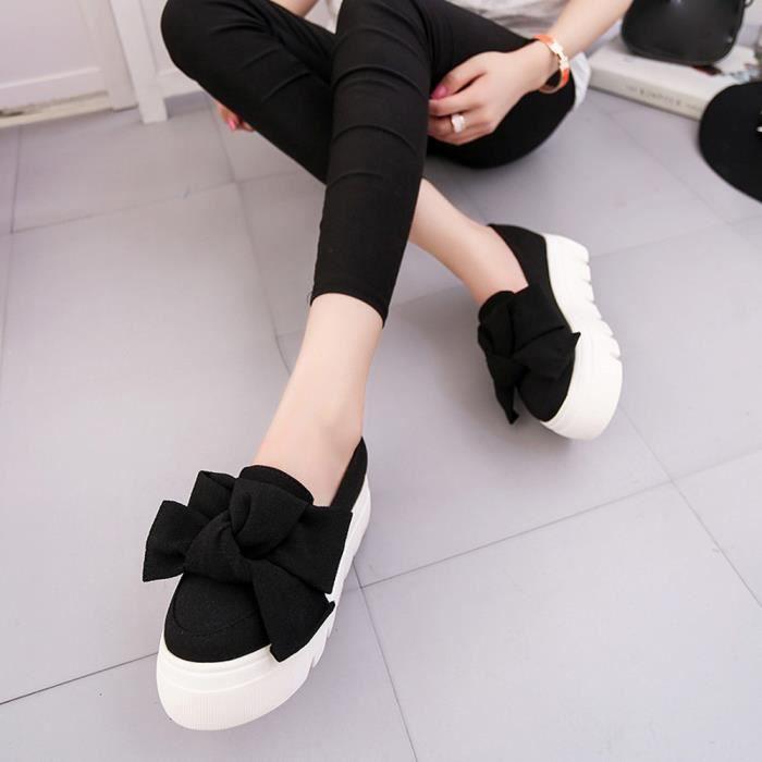 Femme On Mocassins Flats Slip Femmes Bow Plate Chaussures Lady De formenoir Mode 6XwOx4
