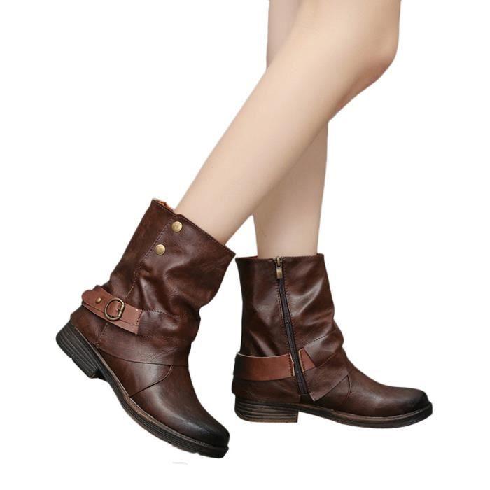 Bout Martin Bottillons En Carré Femmes Chaussures Bottes Vintage Talon Zipper Rond Cuir 6tW4nqCnw
