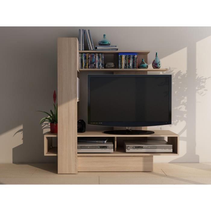 Charmant MEUBLE TV Mur TV KABELLO Avec Rangements - Chêne