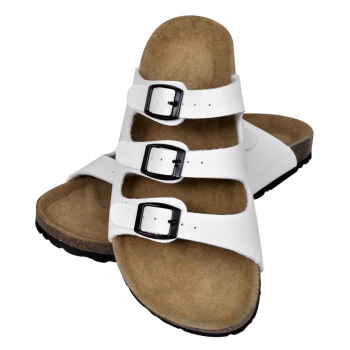 Sandales unisexes blanches en liège bio avec 3 brides à boucle T