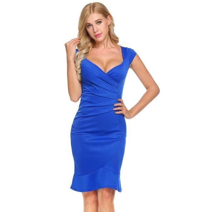 Robe Femmes Sexy V-cou manches Taille haute Fishtail Pencil