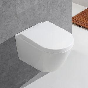 cbe0a8a2d858a3 Gimify WC Suspendu Céramique Toilette Mural avec Abattant Lunette Soft Close