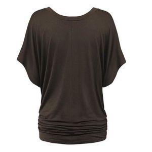 T-SHIRT T-shirt Femme Manches Chauve-souris Couleur Unie E