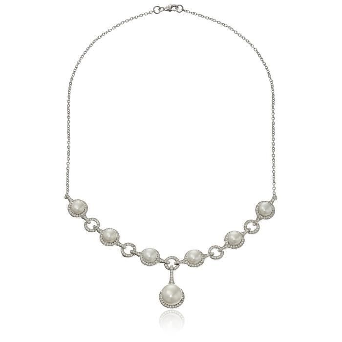 Fancy Cubic Zirconia Pearl Statement Necklace, 18 V6ICR