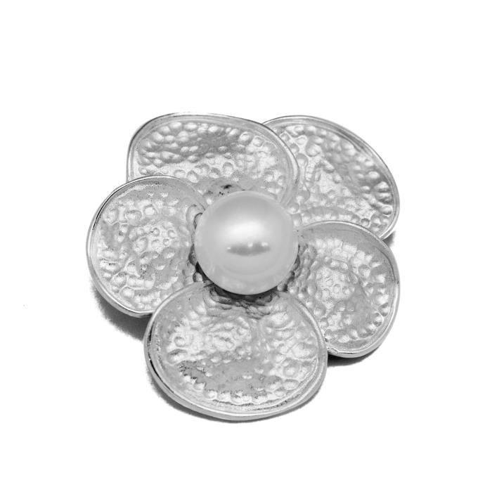 Grande fleur à la mode en argent sterling 925 naturel blanc perle pendentif
