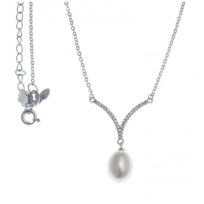 Collier argent rhodié - perle véritable blanche - zircons - 45+5cm Gris