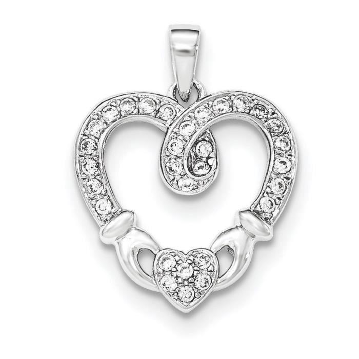 Argent Sterling CZ pendentif en forme de cœur de Claddagh