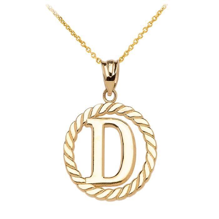 Collier Femme Pendentif 14 Ct Or Jaune D Initiale À Corde Cercle (Livré avec une 45cm Chaîne)