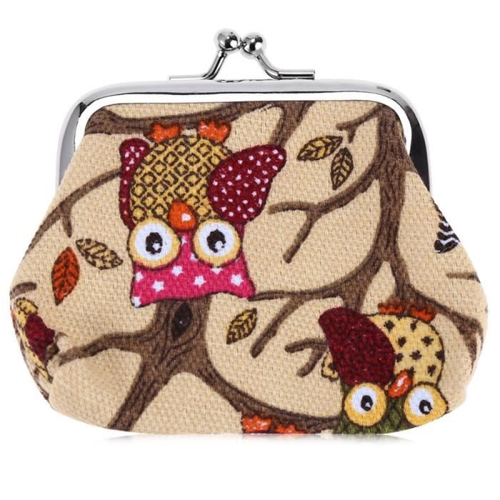 magasins d'usine 100% de qualité comment acheter hibou rouge toile Mini femmes Porte-monnaie à la mode Moraillon Boucle  Petit portefeuille