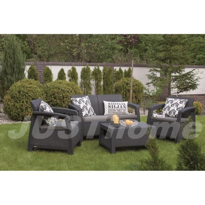 Awesome salon de jardin rotin anthracite contemporary for Chaise rotin tresse gris