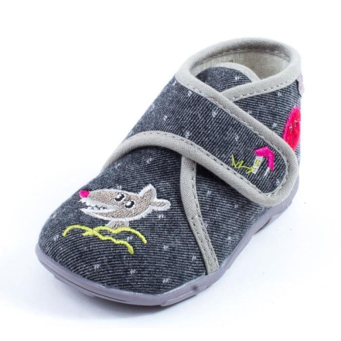 CHAUSSON - PANTOUFLE Chaussons à scratch gris GBB LAKISHA 90151
