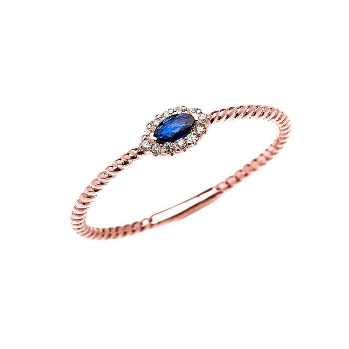 Bague Femme 10 Ct Or Rose Diamant Et Marquise Saphir Solitaire Conception De Corde