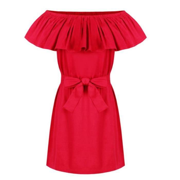 Sexy femmes Boho volant Ruffle manches de robe dépaule mini robe Party Beach