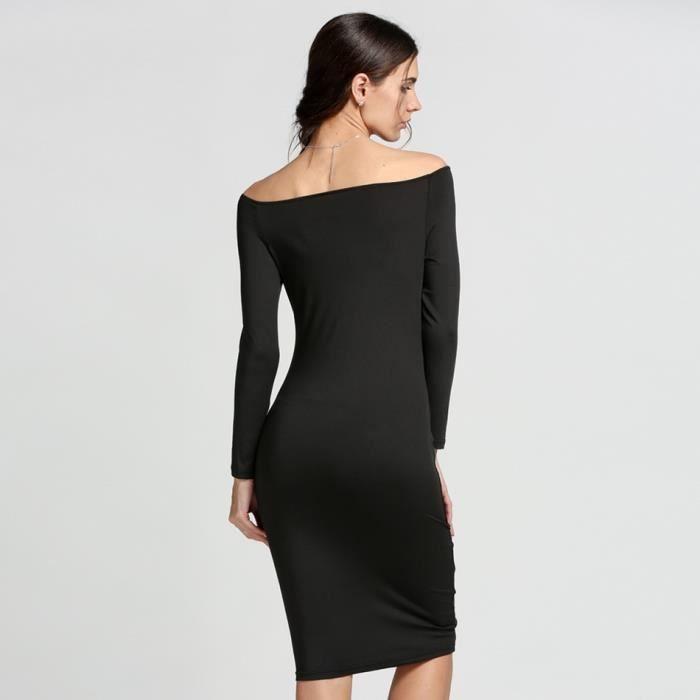 b9819d33280 Robe femme longue noir Finejo épaule nue robe de soirée Sexy Manche longue  Bouton avant