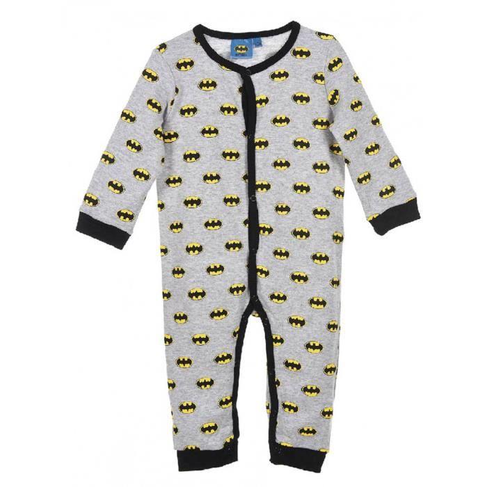 a1304e2eaab4b Pyjama sans pieds coton bébé Batman Gris noir de 3 à 24mois Gris ...