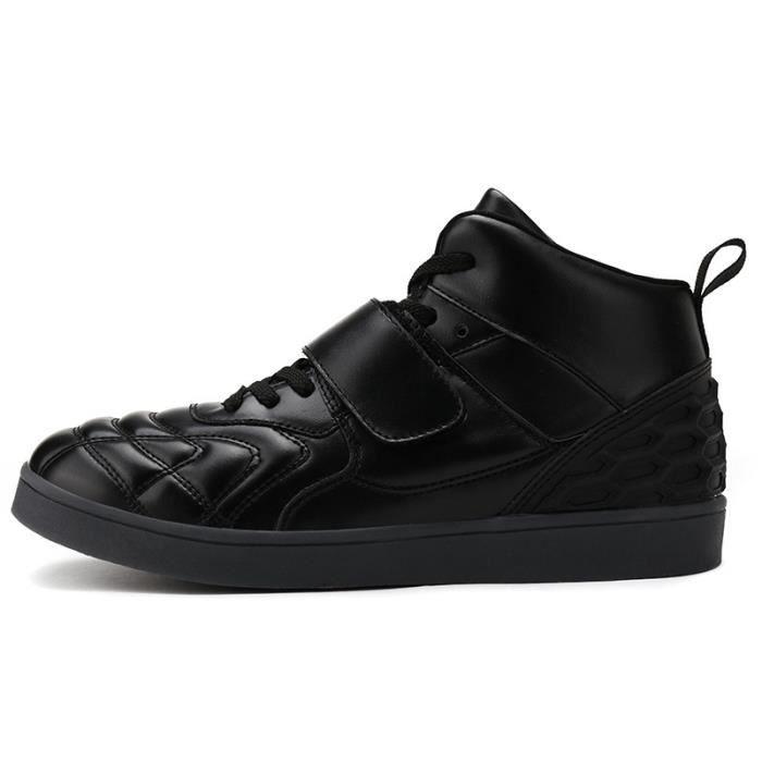 Botte Homme en cuir Velcro chaud noir taille8.5