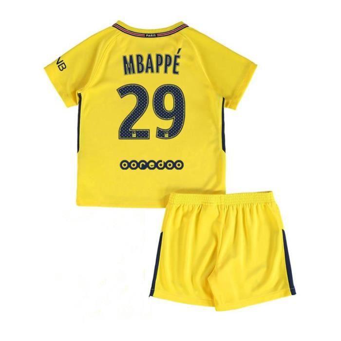 2017-2018 Kylian Mbappé NO.29 Enfant Suit Paris Saint Germain Équipe Enfants  Maillot de Football Tops + Shorts 78ab2d852ed