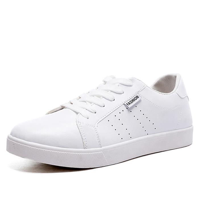 Chaussures De Sport Pour Hommes En Cuir Basket Populaire BXFP-XZ128Blanc41