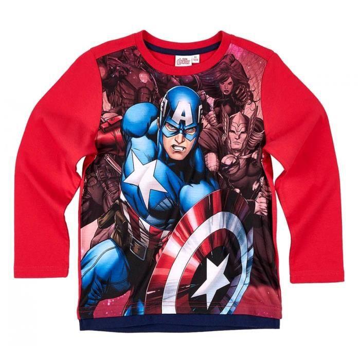 6b98a2be9f8df T-shirt enfant garçon Les Avengers Rouge de 6 à 12 ans Rouge Rouge ...