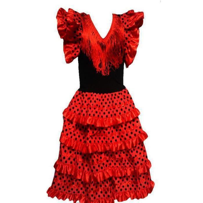 ba5b322d1926d Robe flamenco sevillane pour fille rouge Rouge Rouge - Achat   Vente ...