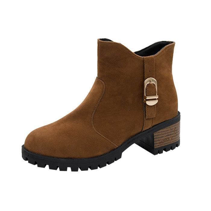 Boot Daim En Chaussures Bottes À 5127 Casual Femme Bottines Zipper Talons Haut Martain qYXP4Xw