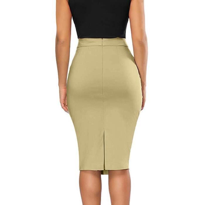 pas cher pour réduction 24340 48b16 Libaib Femmes élastique taille haute Jupe crayon stretch moulante  ci-dessous Jupe au genou