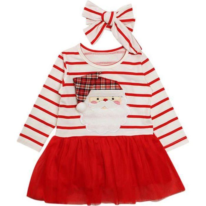 d8d0733b68d03 1-5 Ans Robe Noël à Raies - Robe Tutu Rouge avec Bandeau Cheveux - Manche  Longue - pour Fille Bébé ou Enfant