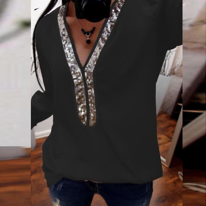 d9a702567b508 T-SHIRT Mode Femmes Casual Sexy Paillettes manches longues. Cher vendeur ...