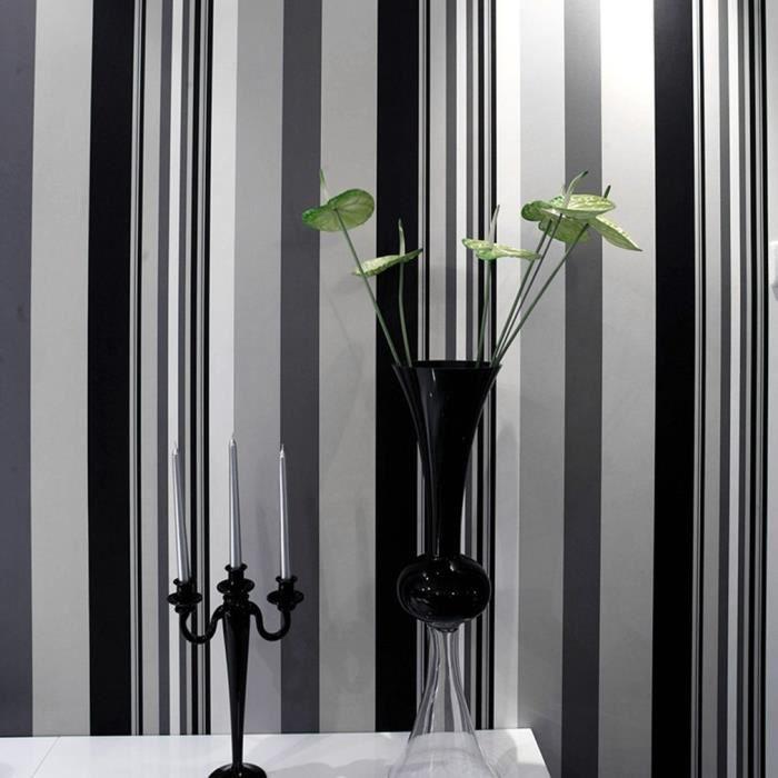 Papier Peint Moderne Chambre Salon Tv Fond 9019 Noir Et Blanc