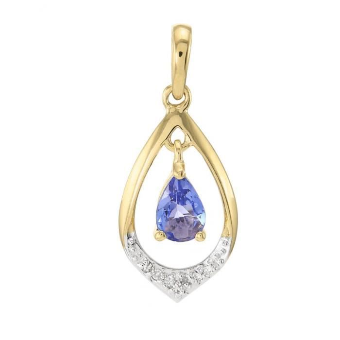 5458599e3c6 Pendentif Or 375 Tanzanite ref 43375 Bleu. Pendentif or jaune 375 Tanzanite  poire 6x4 et diamant ...