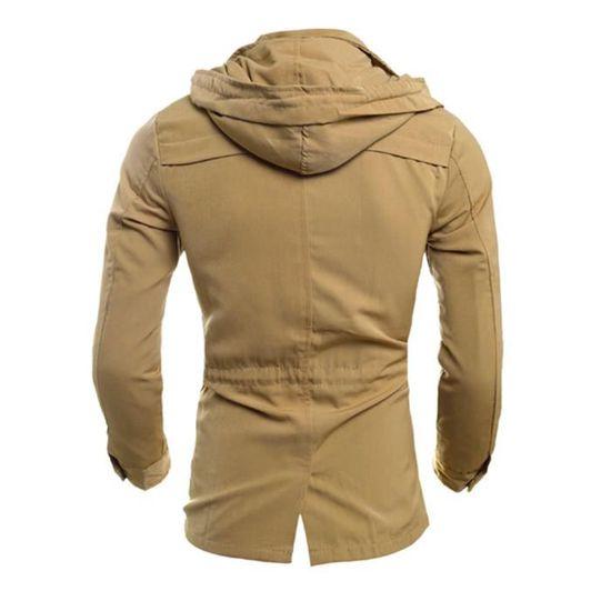 Mode Slim Homme Noir Manteau Outwear Kaki Casual Veste Pardessus FxFfr6R