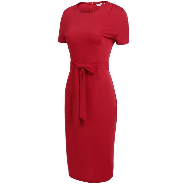 Femmes Robe courte à manches courtes Slim