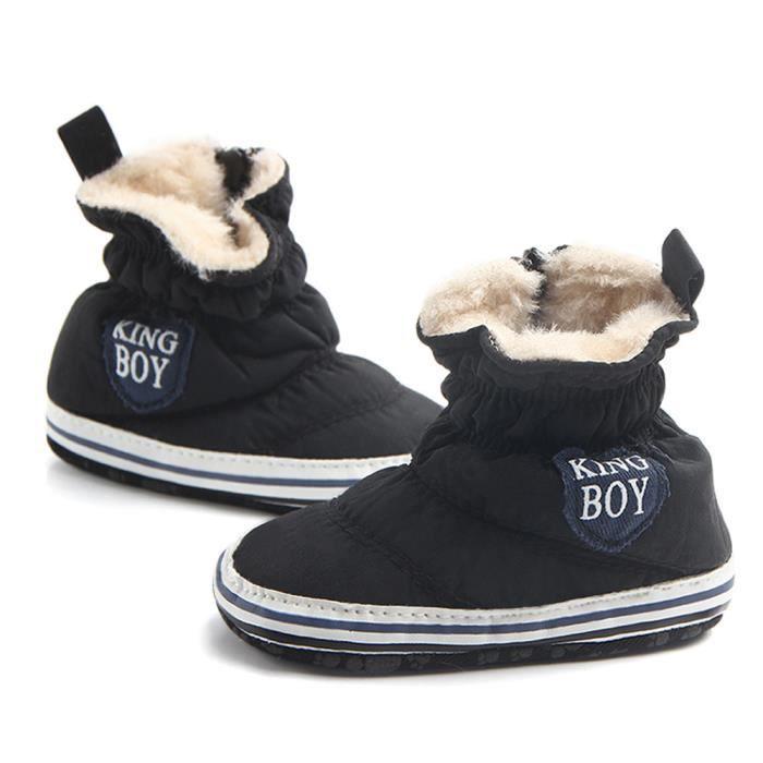 Walker Hiver Noir BOTTE Souple Chaussures Bébé Premier Automne Bottes de Garçon Crib Semelle neige Nourrisson pZZ8q