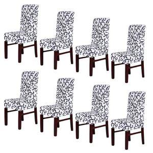 HOUSSE DE CHAISE 8PCS Housses de Chaise Stretch Couvertures de Chai