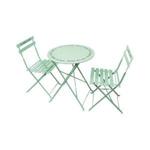 Vert Salon de Jardin Style Bistro 3 pièces : Table Ronde et ...