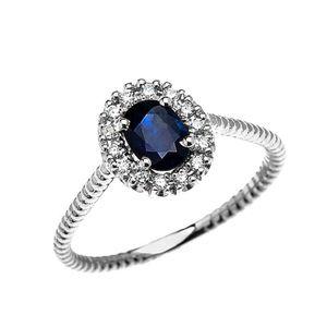 BAGUE - ANNEAU Bague Femme 10 Ct Or Blanc Diamant Et Ovale Saphir
