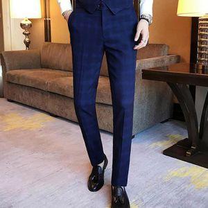 f36535339503 Pantalon À Carreaux De Costume De Ville Homme Pantalon Coton Slim Style  Pantalon Chino