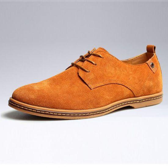 Chaussures en cuir décontracté de grande taille pour hommes Jaune Jaune - Achat / Vente basket