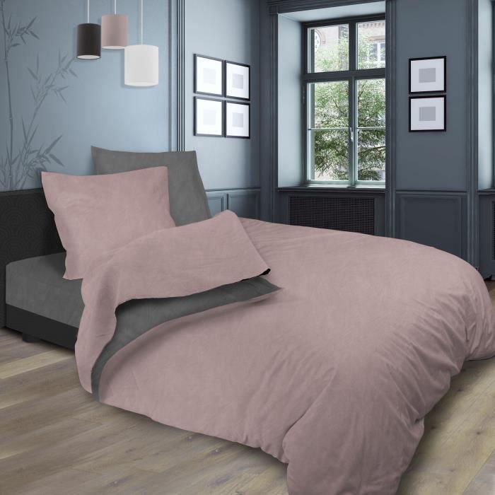 SOLEIL d'OCRE Parure de lit bicolore - Coton lavé - 240 x 290 cm - Rose et gris