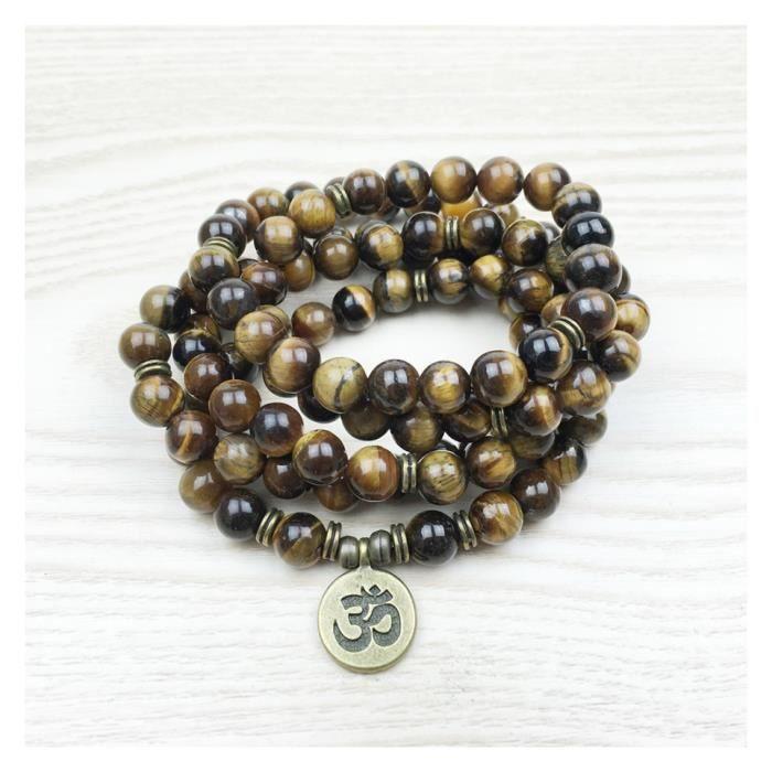 Bracelet mala 108 perles en oeil de tigre + symbole Ôm Marron
