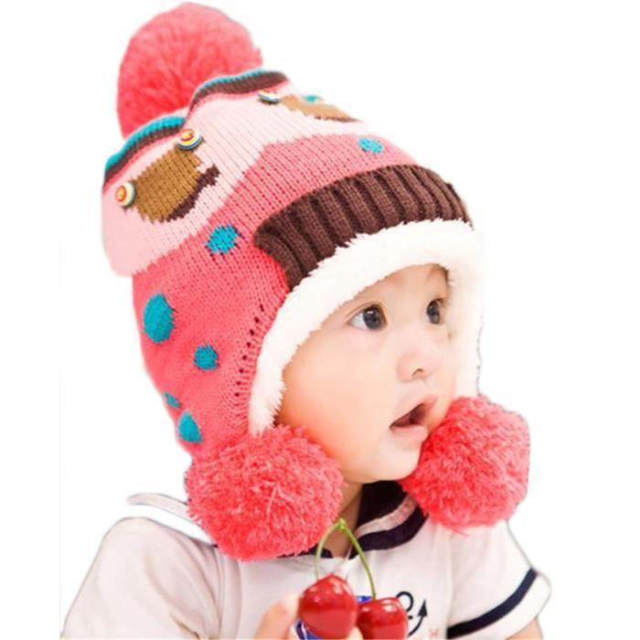 324cc5866e3 MiVogue Bonnet Pour Bébé Hiver Cache Oreille Petit Enfant Garçon Fille  Crochet En Laine Tricoté Chaud-064-Rose