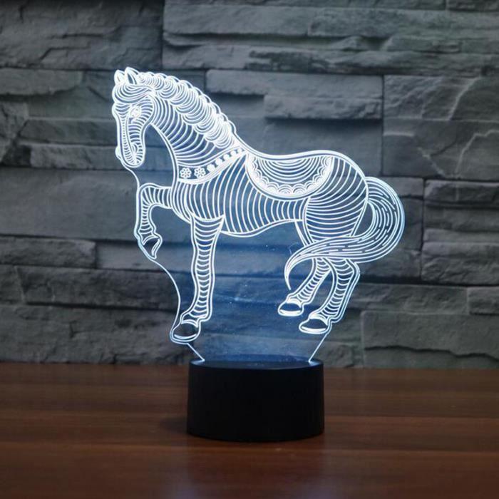 cadeau danniversaire pour enfants cheval 3d en forme night light 7 couleurs changement led lampe de bureau chambre creative table l - Cadeau Cheval