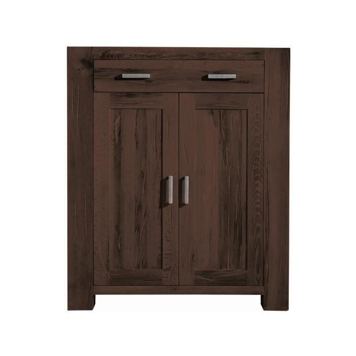 Commode rustique 132 cm à 2 portes et 1 tiroir en bois de chêne ...