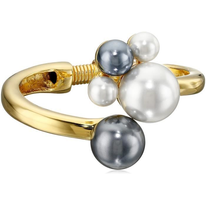 Kenneth Jay Lane Polished Gold-plated Bracelet With White And Grey Pearl Cluster CRXLL
