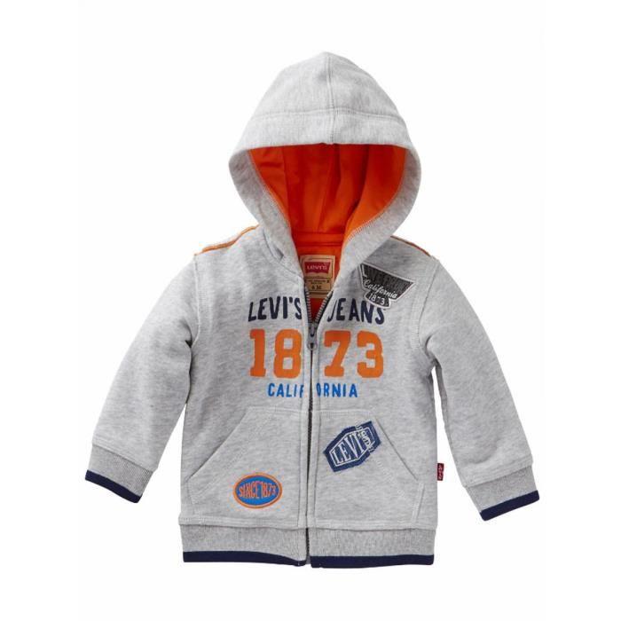 LEVI S - Sweat zippé gris clair à capuche bébé garçon Levi s Gris ... 7fd93cf3b14